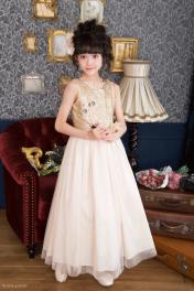 ゴールドのスパンコールが身頃に敷き詰められた子どもドレス ピアノの発表会ドレス  2-1204X(165cm)ゴールド