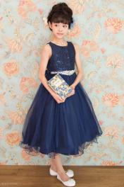 ジュニアドレス 子供ドレス 13-340CB(160cm)ネイビーブルー