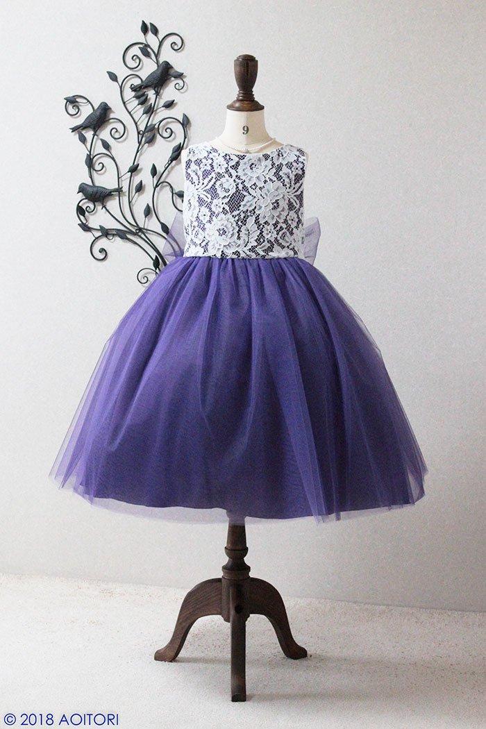 0662bdcdb8f1d 子供ドレス ピアノ発表会ドレス 3-414(130cm)パープルのfrontの