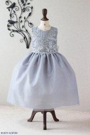 子供ドレス ピアノ発表会ドレス 1-387(140�)シルバー