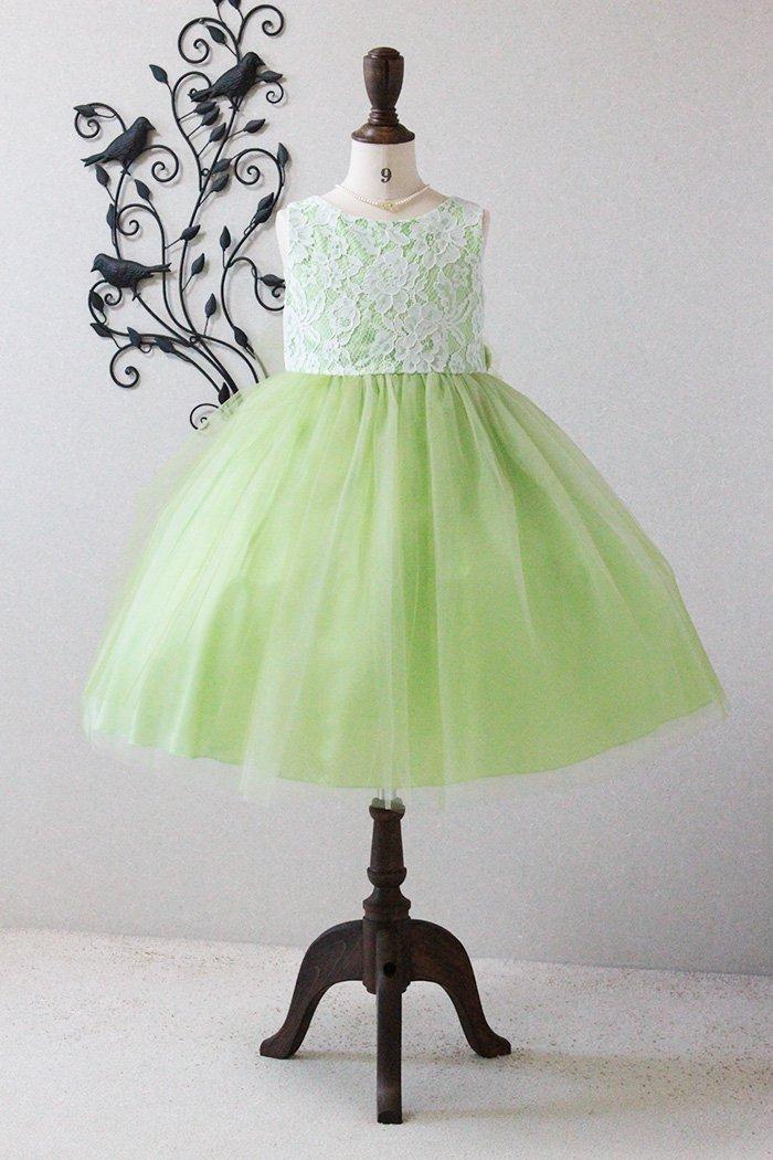 c96224e6944bd 子供ドレス ピアノ発表会ドレス 3-414(130cm)グリーンのfrontの