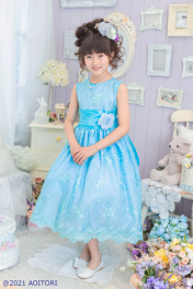 子供ドレス ピアノ発表会ドレス 15-222(130cm)ターコイズブルー【青い鳥】