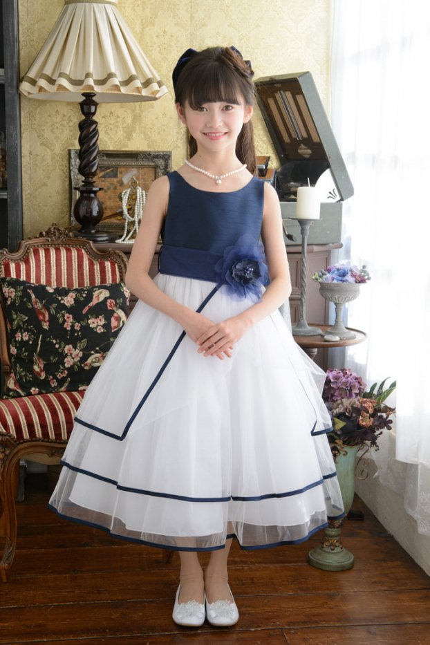 子供ドレス ピアノ発表会ドレス 6-1239(150cm)ネイビーブルー