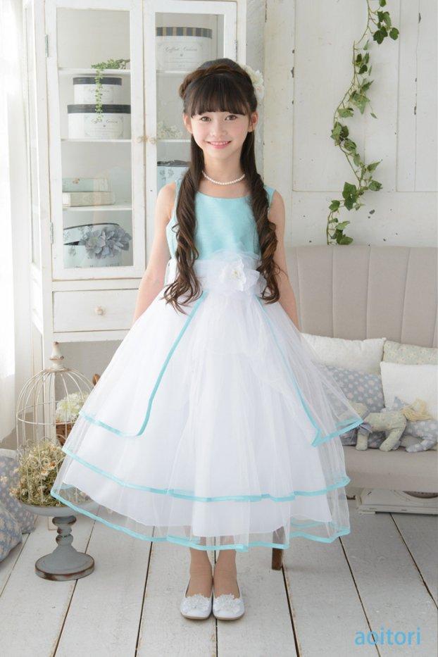 子供ドレス ピアノ発表会ドレス 6-1239(150cm)ミント