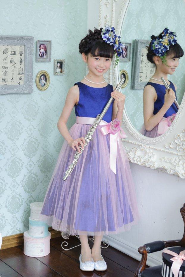 子供ドレス ピアノ発表会ドレス 6-1244(130cm)ネイビー/ピンク