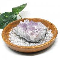 アメジスト・水晶さざれ・パワーストーン浄化3点セット(ブラジル産紫水晶クラスター+水晶さざれ+ウッドトレイ)