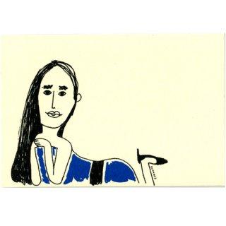 青いドレスの女優