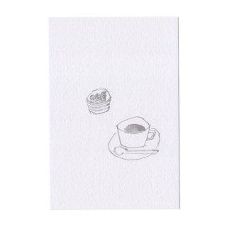 線画のポストカード コーヒー