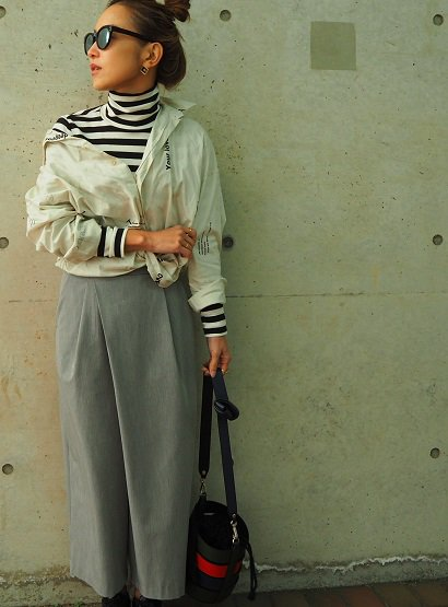 ara・ara wrap wide pants gray