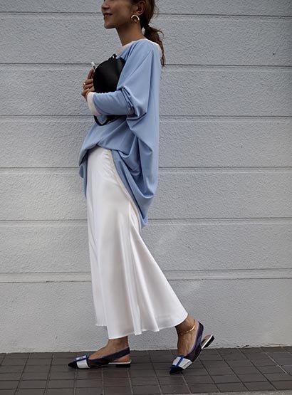 K. stretch satin mermaid skirt o.white