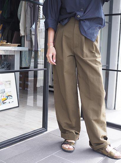SIWALY '21SS Tucked wide pants khaki