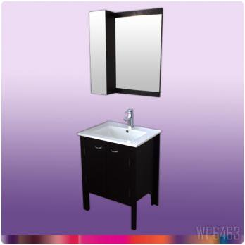 Ambest 60cm幅木目化粧收納と洗面器水栓セットとミラー收納セット WP6463