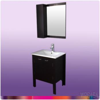 Ambest 60cm幅木目化粧收納と洗面器水栓セットとミラー收納セット WP6464