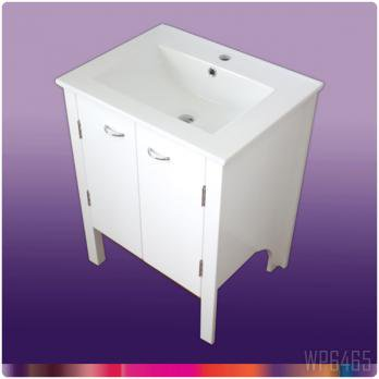 Ambest 60cm幅白いピアノ塗装化粧キャビネットと60cm幅洗面器 WP6465