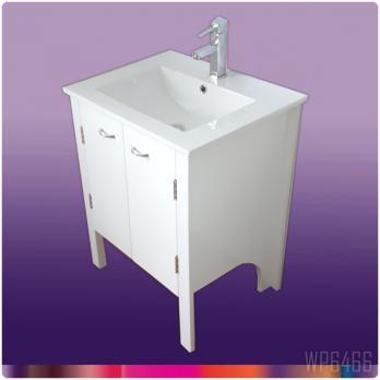 Ambest 60cm幅白塗装化粧キャビネットと60cm幅洗面器水栓セット WP6466