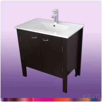 Ambest 75cm幅木目化粧キャビネットと60cm幅洗面器水栓セット WP6472