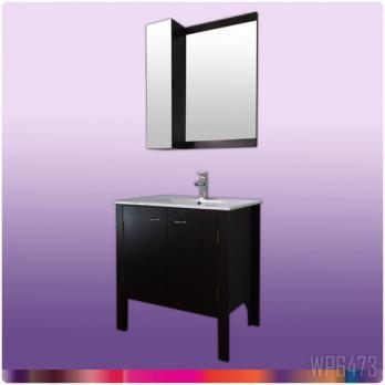 Ambest 75cm幅木目化粧收納と洗面器水栓セットとミラー收納セット WP6473