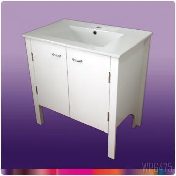 Ambest 75cm幅白いピアノ塗装化粧キャビネットと75cm幅洗面器 WP6475