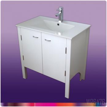 Ambest 75cm幅白塗装化粧キャビネットと75cm幅洗面器水栓セット WP6476
