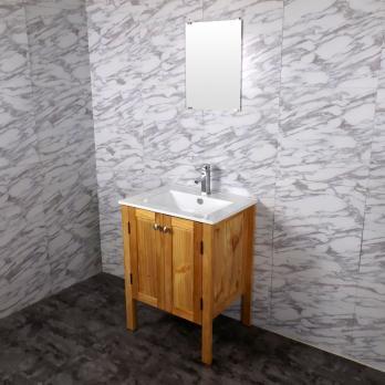 Ambest 60cm幅木目化粧收納と60cm幅洗面器水栓セットとミラー WP6563