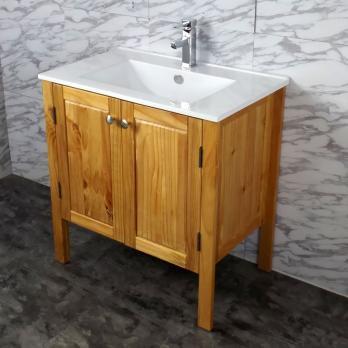 Ambest 75cm幅木目化粧キャビネットと75cm幅洗面器水栓セット WP6572