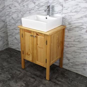 Ambest 60cm幅木目化粧收納と木目カウンターと角型洗面器水栓セット WP9161
