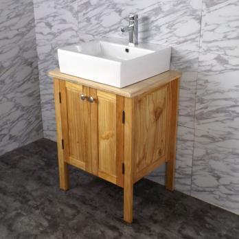 Ambest 60cm幅木目化粧收納と木目カウンターと角型洗面器水栓セット WP9167