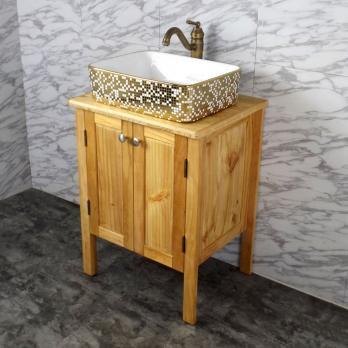 Ambest 60cm幅木目化粧收納と木目カウンターと角型洗面器水栓セット WP916N