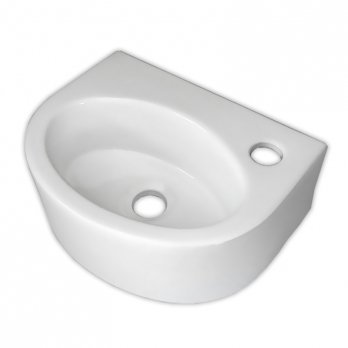 Ambest白陶器狭小トイレ用半円型壁掛け手洗い洗面器ボウルSL9103