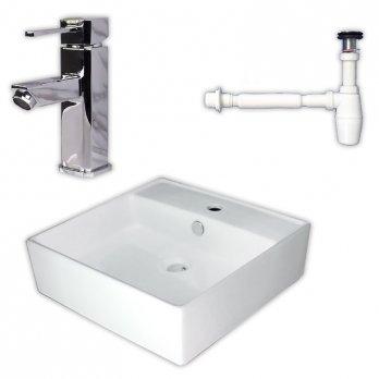 Ambest白陶器角型カウンター洗面器ボウルと角形混合水栓床排水金具WL364A