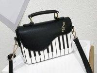 ピアノ鍵盤柄 2Wayバッグ ブラック