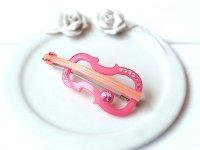 バイオリンモチーフ ヘアピン ピンク