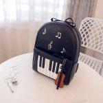 ピアノ鍵盤柄 リュックサック ブラック