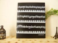 ピアノ鍵盤柄 40シート クリアファイルブック