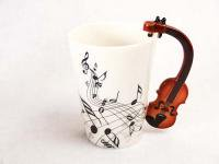 バイオリンモチーフ 音楽マグカップ