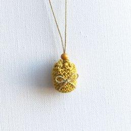 アロマペンダント<br />ポッシュ・ド・アロマ ミニ<br />マスタード×リボン(ゴールド) 水晶