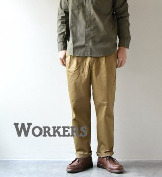 "【WORKERS】ワーカーズ Workers Officer Trousers, 2-Tavk Wide Straight ""USMC Khaki"""