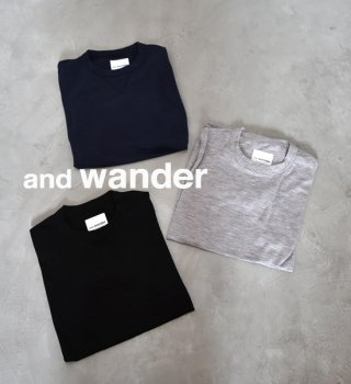 "【and wander】アンドワンダー women's merino base short sleeve T ""3Color"" ※ネコポス可"