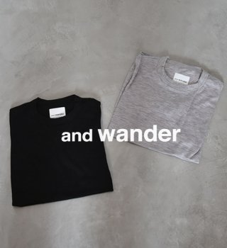 "【and wander】アンドワンダー men's merino base short sleeve T ""3Color"" ※ネコポス可"