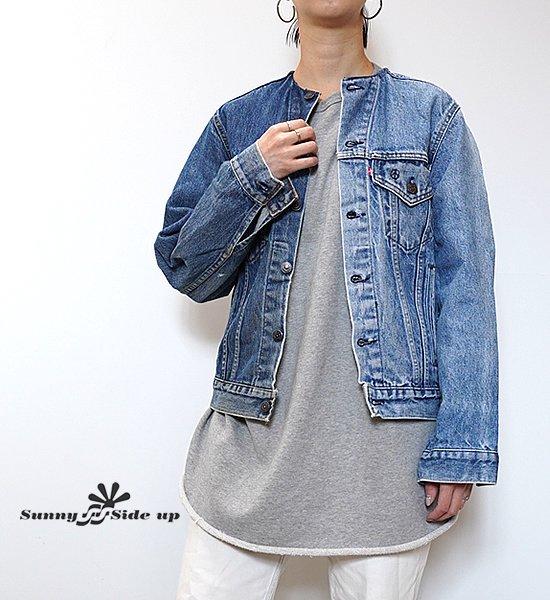 【Sunny side up】サニーサイドアップ women's 2 For 1 No Collar Denim Jacket