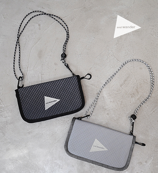 """【and wander】アンドワンダー reflective rip pouch """"2Color"""" ※ネコポス可"""