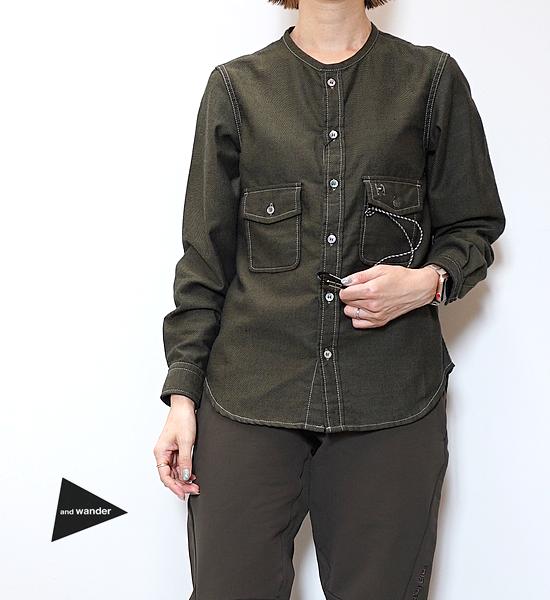 【and wander】アンドワンダー women's thermonel collarless LS shirt