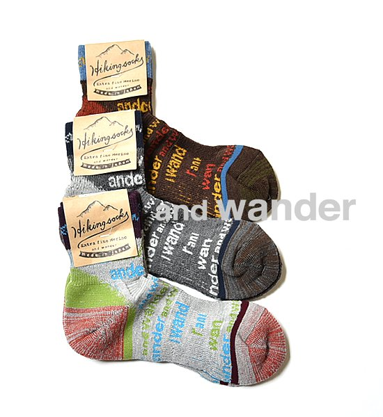"【and wander】 アンドワンダー and wander socks ""3Color"" ※メール便可"