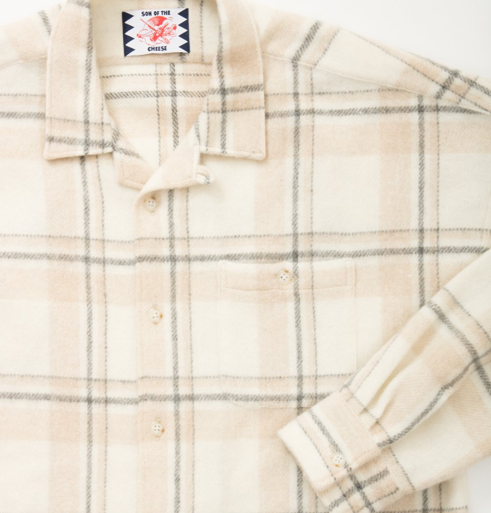 Long flannel shirts(OFF WHITE)