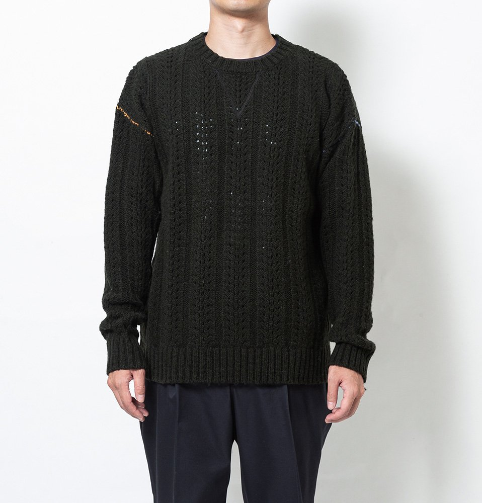 Stitch hide crew knit(OLIVE)