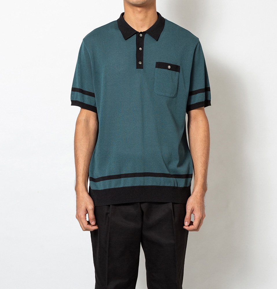 Border KNIT Polo(GREEN)