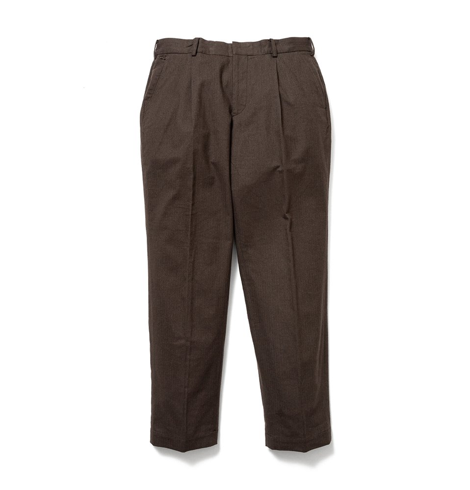 Check wide tack pants(BROWN)