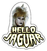 ジャガーさん(JAGUAR)ステッカー HELLO JAGUAR(ダイカット) 文字:黄