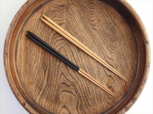 飲食に:細身黒塗り竹箸