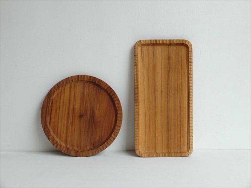 飲食に:角丸木皿